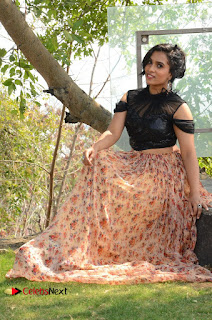 Actress Chetana Uttej Stills in Floral Long Skirt at Pichiga Nachav Movie Press Meet  0086.JPG
