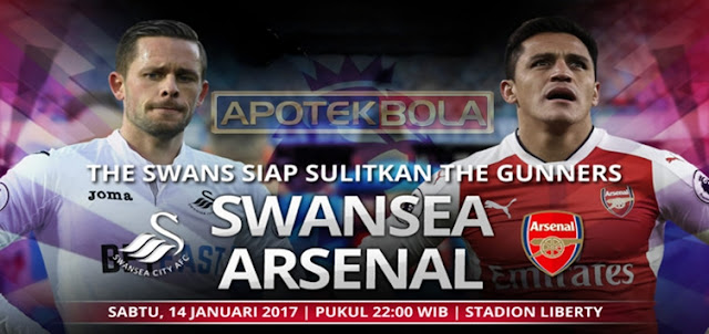Prediksi Pertandingan Swansea City vs Arsenal 14 Januari 2017