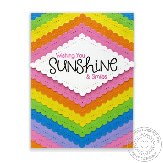 Sunny Studio Stamps: Fishtail Banners II Rainbow Card by Mendi Yoshikawa