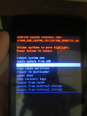 menu recovery mode lenovo a1000