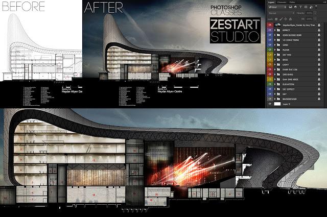 khóa học photoshop diễn họa kiến trúc