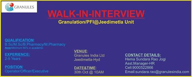 Granules India Ltd Walk-In Interviews For B.Sc, M.Sc, M.Pharm, B.Pharm at 30 October