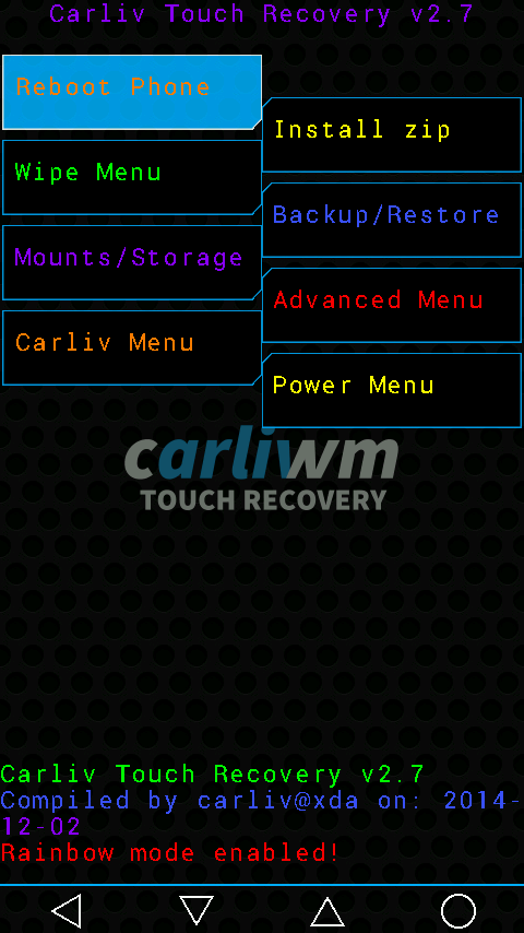 Updated Carliv Touch Recovery 2.7 for Myphone rio fun V1. Android 4.2 Jellybean Screenshot 1