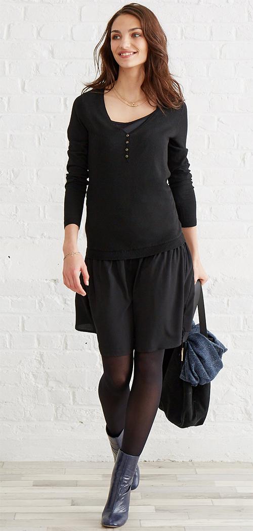 Robe courte noire bi-matière femme enceinte Vertbaudet