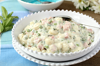 One Skillet Ham and Peas Gnocchi with Mint