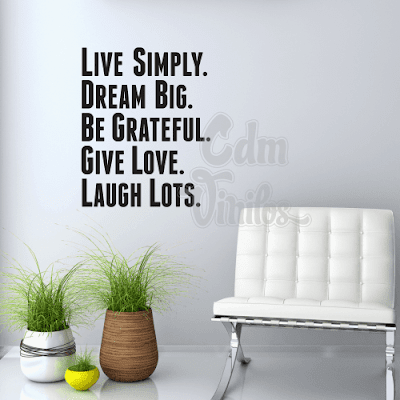 vinilo decorativo pared live simply, love, laugh