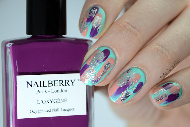 dry brush foil nail design holographic furious filer