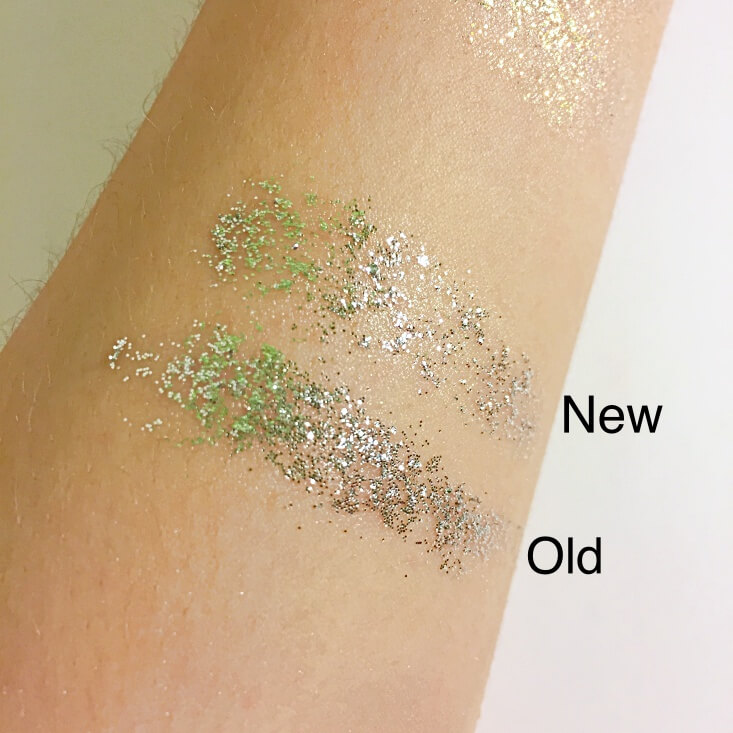 wet n wild coloricon Glitter Single old vs new Spiked swatches