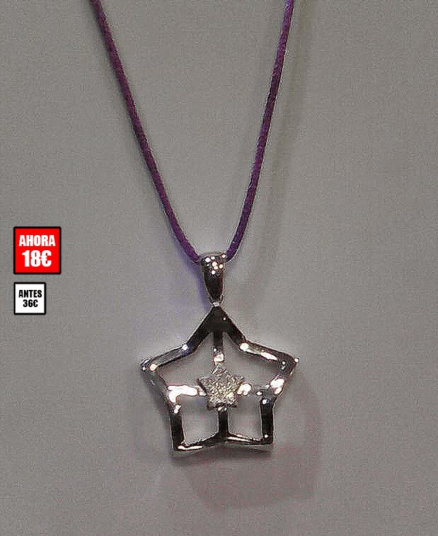 a33b767f9c3c Colgante estrella en plata de 1ª ley con cinta de seda