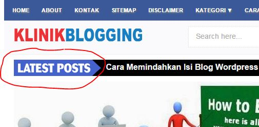 Cara Membuat Latest Post Animasi di Bawah Menu