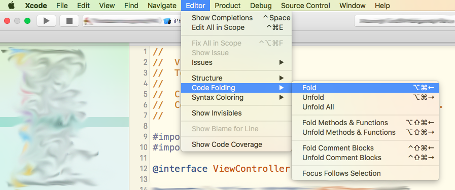 Tuntunir Programming: Code folding and unfolding in XCode 7 2