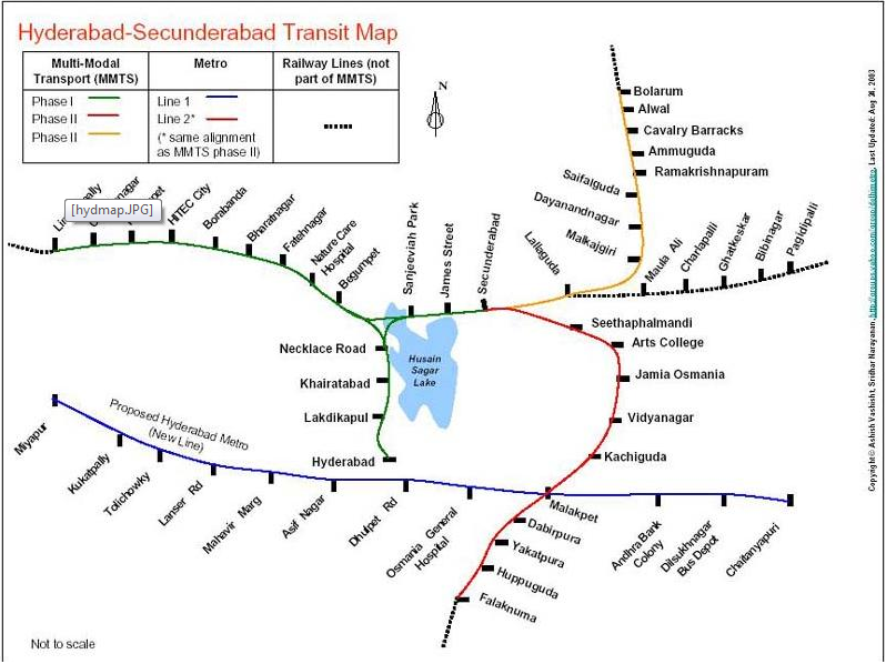 Hyderabad Local Train Map Metro and MMTS Trains Information