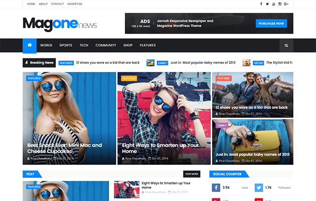 The MagOne is a build clean fashionable magazine responsive blogger template that allows y'all to foc Free Download The MagOne