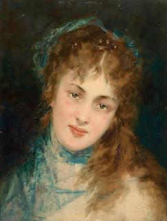 Конрад Кизель Conrad Kiesel - Портрет дамы с голубым шарфом