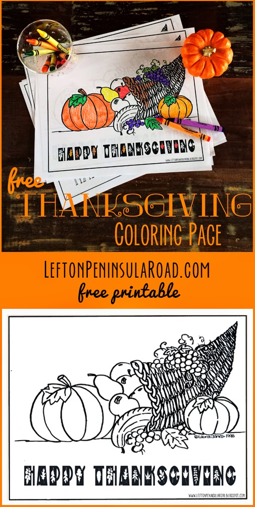 Free Thanksgiving Cornucopia coloring page to print.