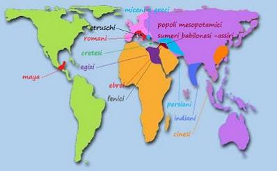 le civiltà storiche del passato, cartina per la scuola