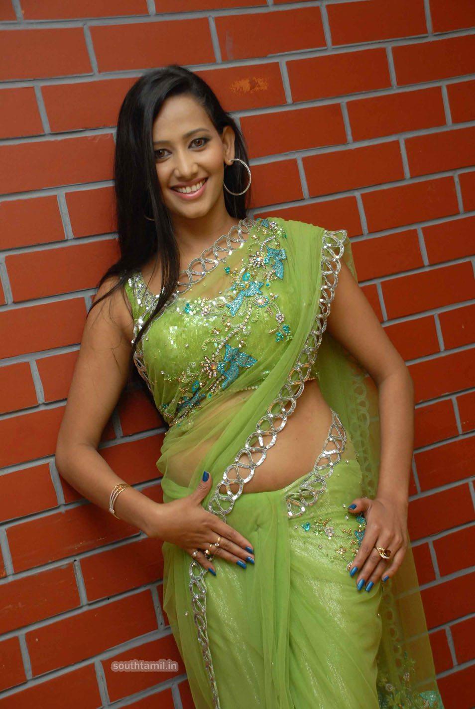 Slicypics Indian Actress Tamanna Bhatia Photos: Sanjana Singh South Actress Pics In Green Saree