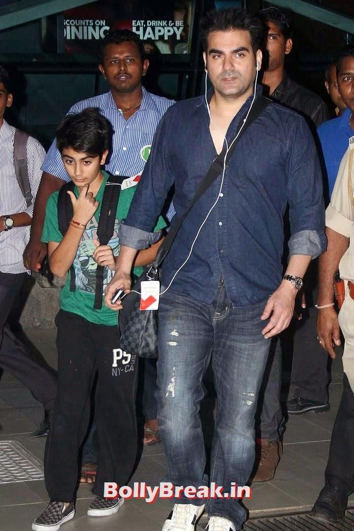 Arbaz Khan, Bollywood Celebs at Airport to Attend Arpita Khan's Wedding