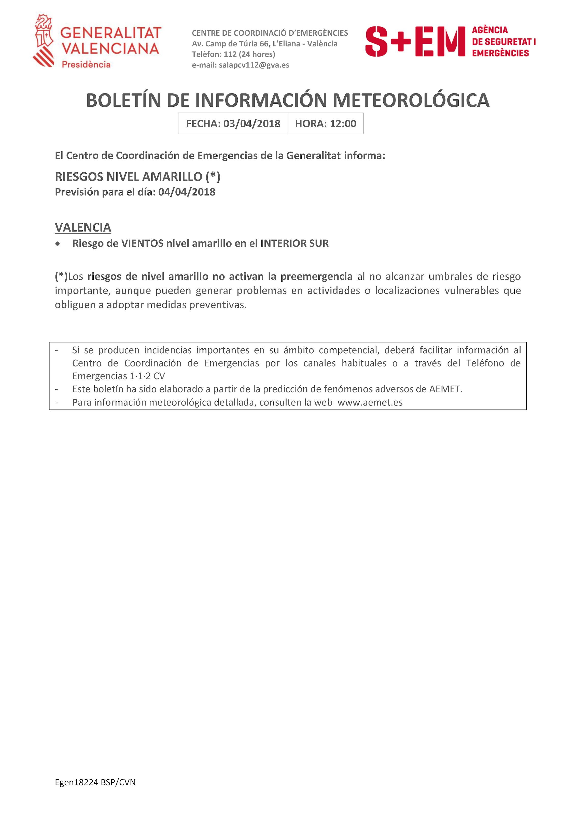 Policía Local de Quesa: BOLETÍN INFORMACIÓN METEOROLÓGICA. Riesgo de ...