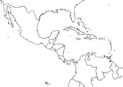 Blank map of Central America and surroundings