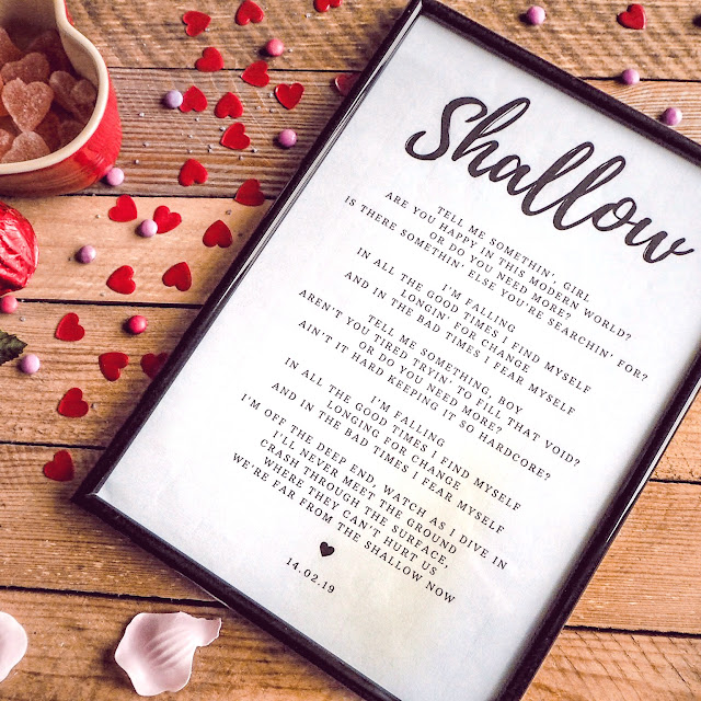 Thoughtful, romantic Valentine's Gift - lyrics print