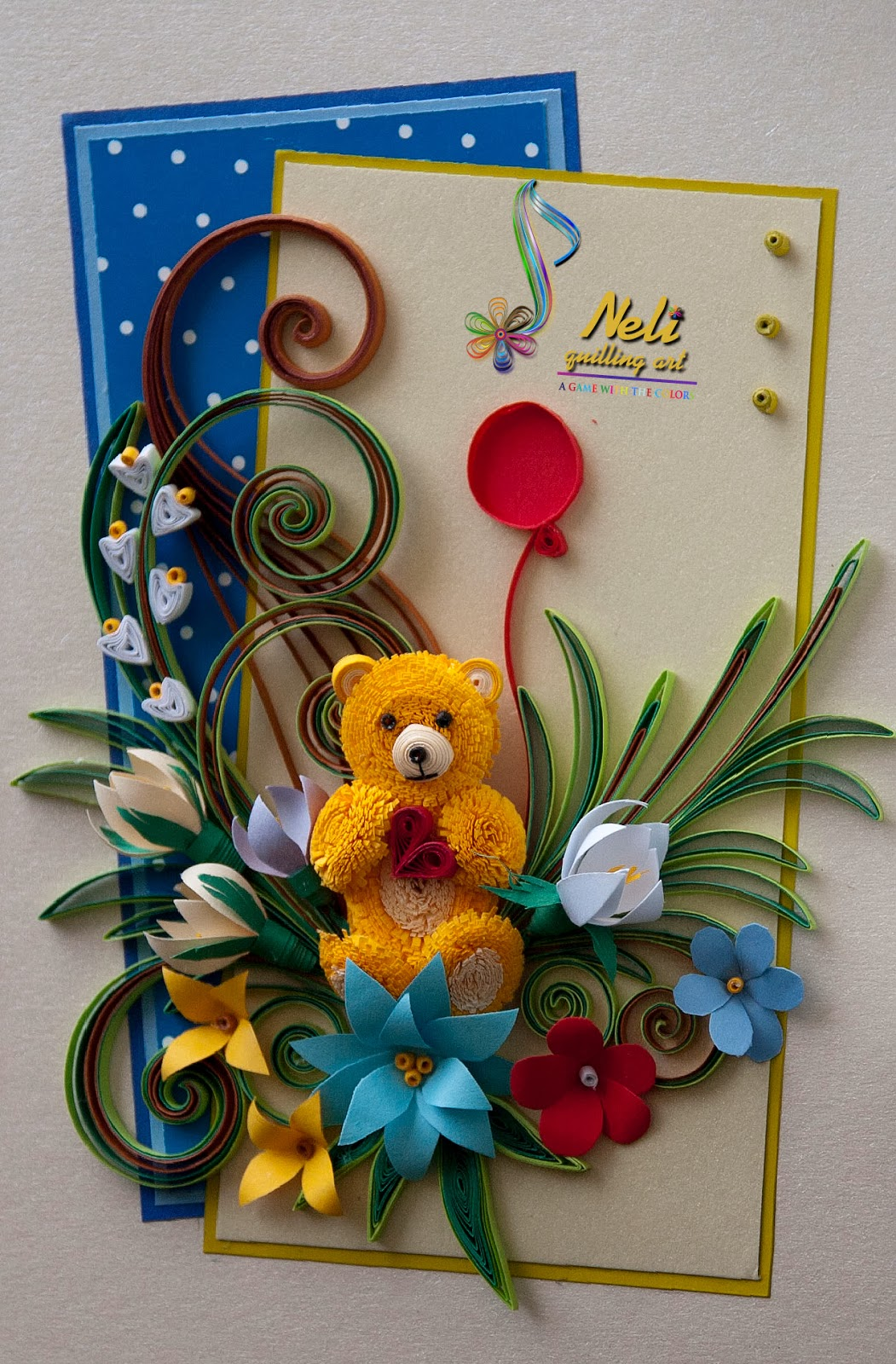 Australian Made Teddy Bears Neli Quilling Art Quilling Card And Teddy Bear