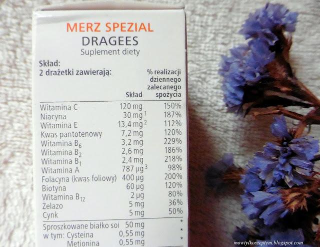 skład Merz Special, baby hair, suplement na wlosy, skore i paznockie