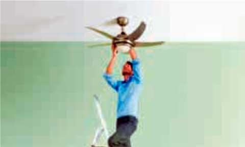 Instalaciones eléctricas residenciales - Colocando pantalla de lámpara de ventilador de techo