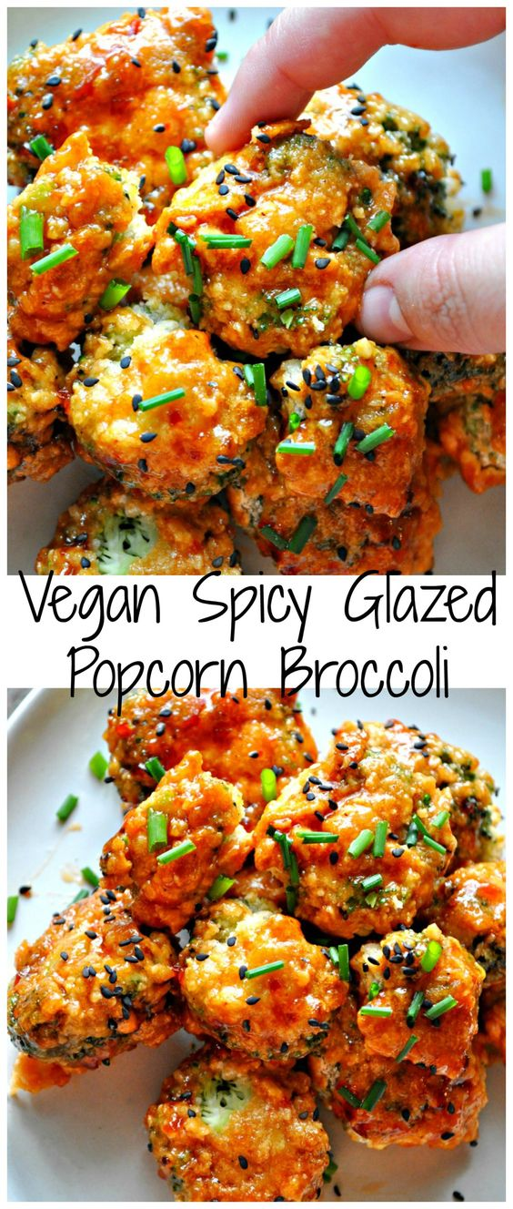 Perfect crunchy baked popcorn broccoli. Tossed in the perfect spicy glaze!