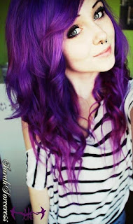 Bright purple emo hairstyle
