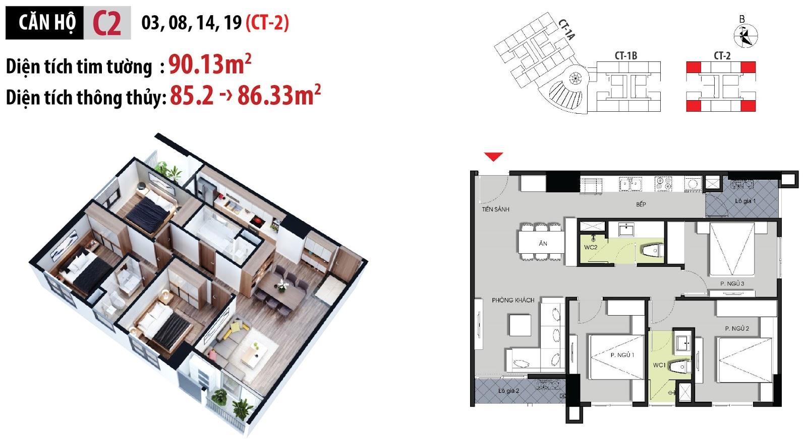 Thiết kế chi tiết căn hộ số 03 - 08 - 14 - 19 dự án chung cư Hateco Apollo Xuân Phương