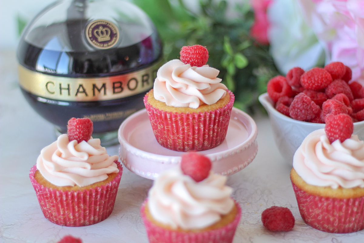 Almond Cupcakes with Chambord Frosting