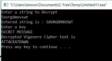 Decryption of Viginere Cipher using C