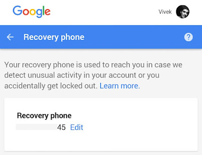 Recovery phone number