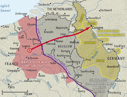 Map showing the zones of the Allied occupation of the Rhineland (NZ Government)