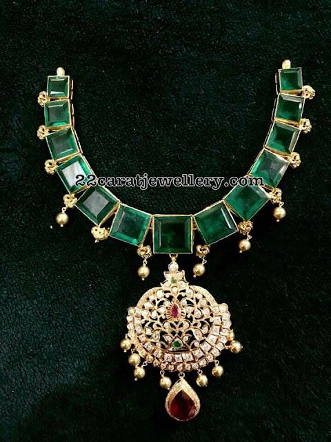 Square Shaped Emerald Set with Diamond Locket