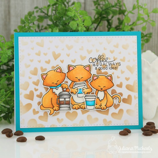 Coffee with Friends Card by Juliana Michaels | Newton Loves Coffee, Sending Hugs and Newton's Costume Party Stamp Sets by Newton's Nook Designs #newtonsnook #handmade
