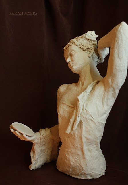 sculpture, art, sarah, myers, woman, mirror, escultura, skulptur, scultura, contemporary, arte, stoneware, modern, lady, figurative, classical, artwork, calm, reflection, left, side