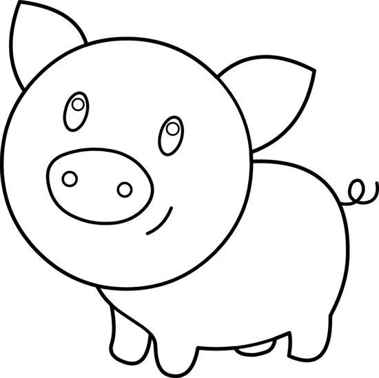 Tranh tô màu con lợn cute