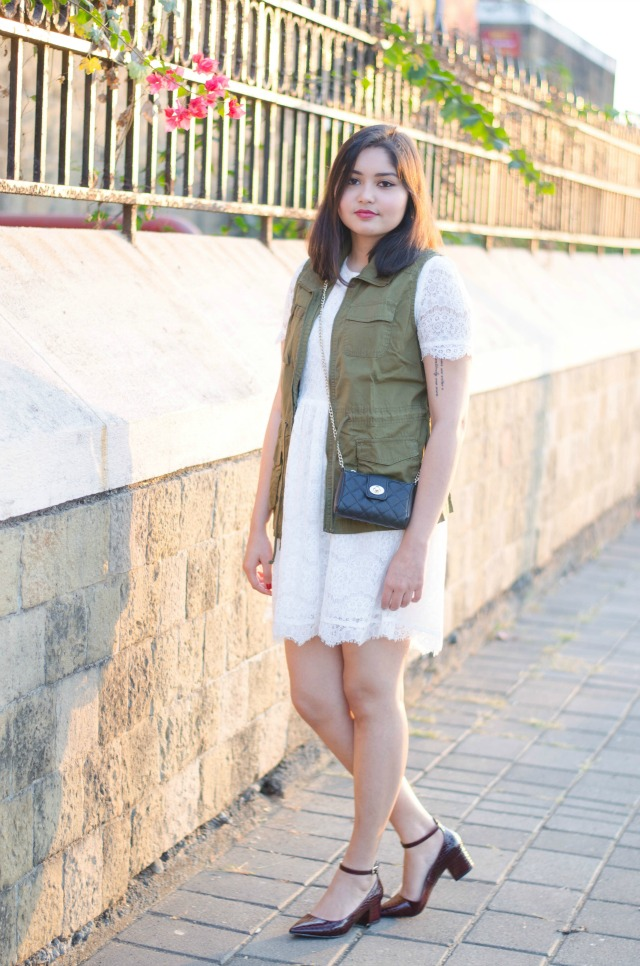 Green Military Vest and Lace Dress