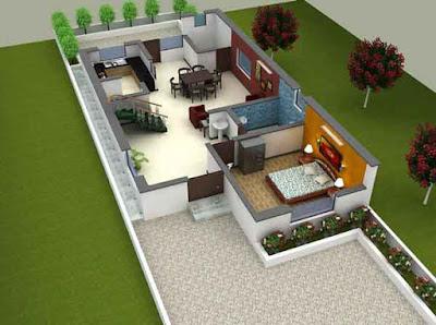 3d denah rumah minimalis type 36