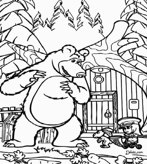 Mewarnai Masha And The Bear