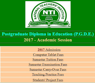 NTI PGDE Admission portal and requirements