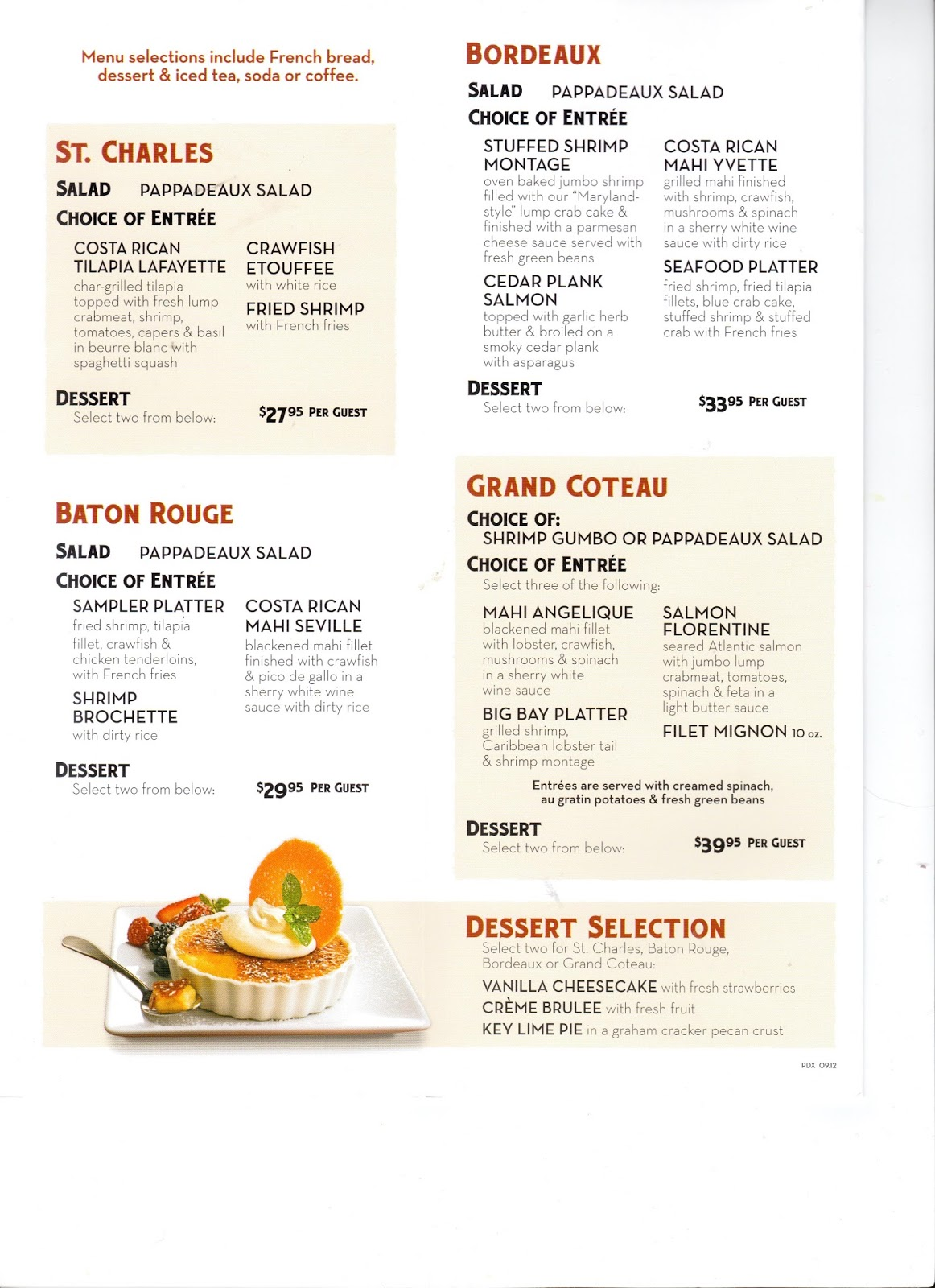 VC Menu Pappadeaux Seafood Kitchen  Houston TX