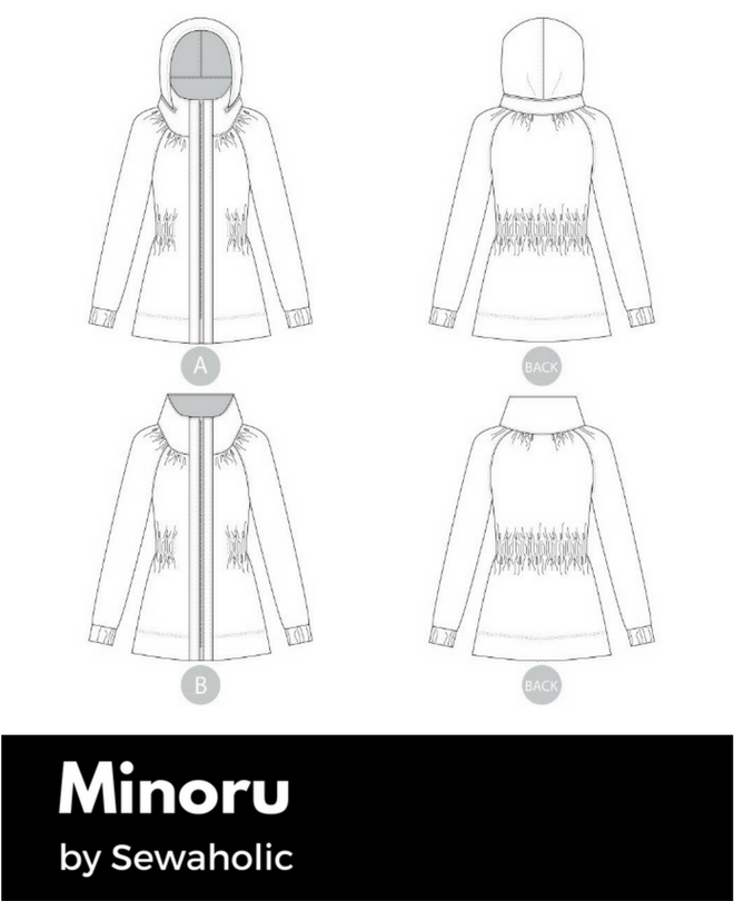 Technical drawing of the Minoru anorak pattern.