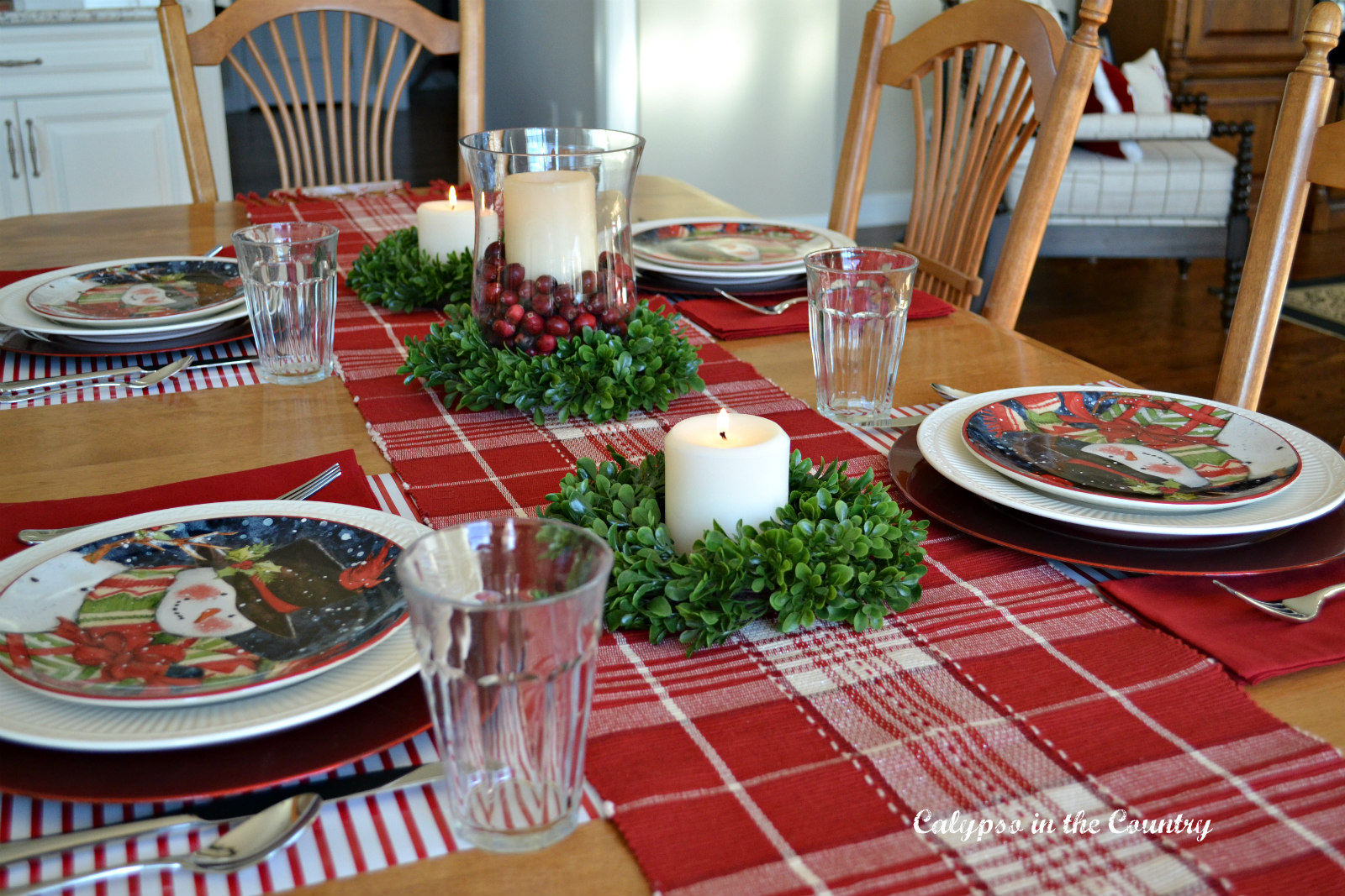 Christmas Place Settings Using Wrapping Paper Place Mats