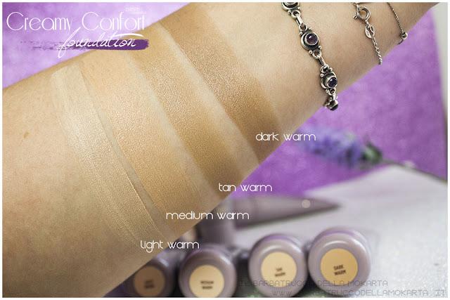 warm swatches creamy confort foundation Fondotinta Neve Cosmetics