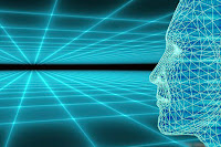 Teknolojiyi anlatan dijital sanal bir ortamdaki dijital insan yüzü