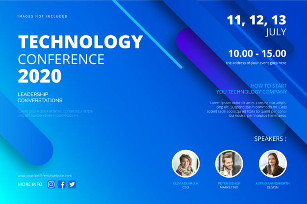 technology poster design vector free download Technology conference poster template Free Vector