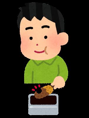 串カツをソースに二度漬けする人のイラスト